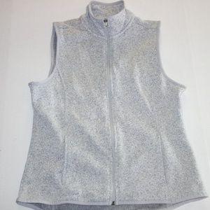 Bass Sweater Fleece Vest Women L Gray NEW Casual